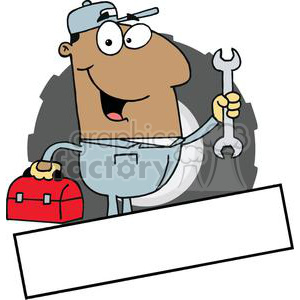 African American Mechanic Man With A Tool Box And Wrench Banner clipart. Commercial use image # 379056
