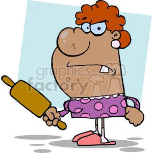 enraged african american wife with a rolling pin in a purple and pink polka dot dress