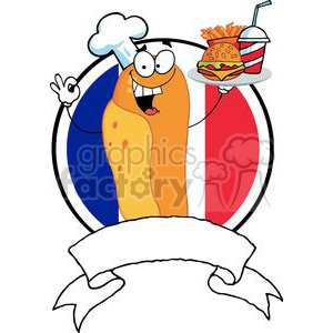 Banner Of A Hot Dog Chef Holder Plate Of Hamburger And French Fries In Front Of Flag Of France clipart. Royalty-free image # 379081