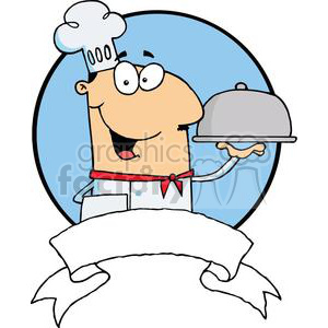 Banner OF A Male Chef Serving Food On A Sliver Platter with A Blue Background clipart. Commercial use image # 379086