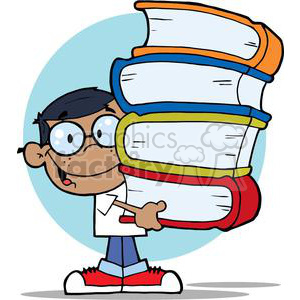 African American Boy With Colorful Books In HisHands clipart. Commercial use image # 379091