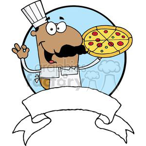 Pleased Hispanic Pizza Chef With His Perfect Pizza Pie clipart. Royalty-free image # 379101