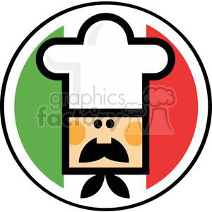 a male chef face-over of flag of italy