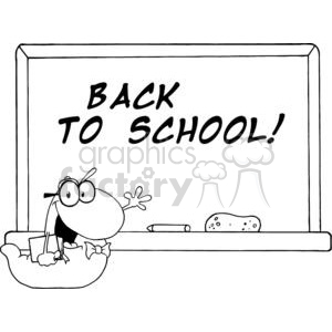 Waving Bookworm In Front Of School Chalk Board With Back to School! clipart. Commercial use image # 379116