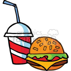 fast food hamburger and drink on a white background