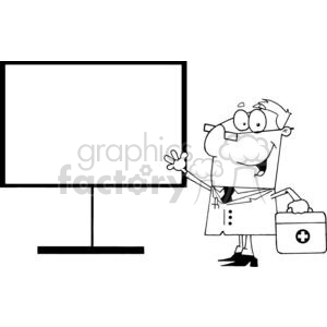 vector cartoon funny black white doctor