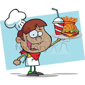 A Happy African American Boy Chef Holding Up Hamburger Drink And French Fries In Front Of A Blue Background clipart. Commercial use image # 379146