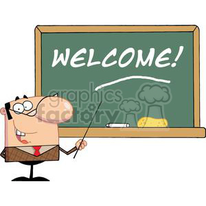 a school teacher with a pointer showing on the chalk board text welcome!