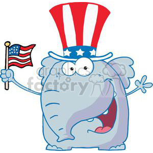 Patriotic Elephant Waving An American Flag On Independence Day clipart. Commercial use image # 379156