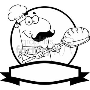 vector cartoon funny black white pizza chef cook food fast italian flag flags italy bread