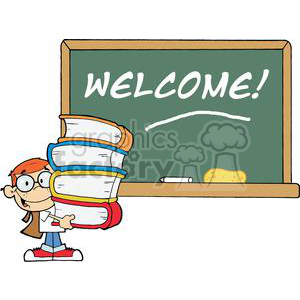 A Male Student With Books In Front Of School Chalk Board With Welcome! clipart. Commercial use image # 379171