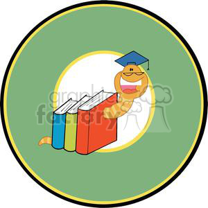 Bookworm In Green Circle clipart. Commercial use image # 379181
