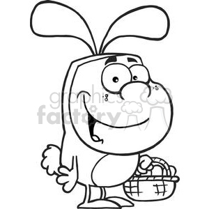 A Little Boy In Easter Bunny Suit Holding A Basket Of Eggs