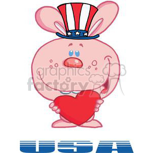 Belated Patriotic Pink Bunny Holds Heart And Text USA In Dark Blue clipart. Royalty-free image # 379191