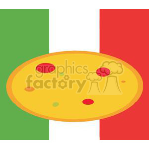 fast food pizza in front of flag of italy