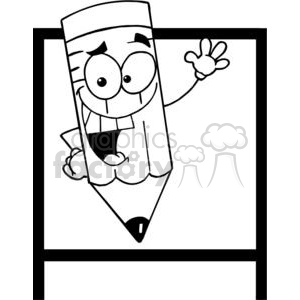 Waving Happy Little Pencil Cartoon Character With a Board In Background