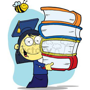 Graduation Asian Girl With Books In Their Hands With a Bee Buzzing Above clipart. Commercial use image # 379216