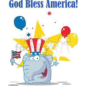 Patriotic Elephant Waving An American Flag On Independence DayWith Balloons and Stars clipart. Commercial use image # 379221