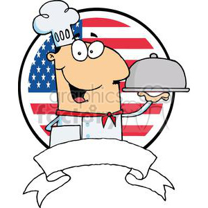 Male Chef Serving Food In A Sliver Covered Platter In Front Of Flag Of USA clipart. Commercial use image # 379226