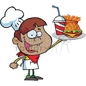 Fast Food African American Boy In A Chef Hat Holding Up Hamburger Drink And French Fries clipart. Royalty-free image # 379231