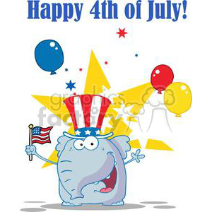 Patriotic Republician Elephant Wearing A Hat and Waving An American Flag On Independence Day clipart. Royalty-free image # 379236