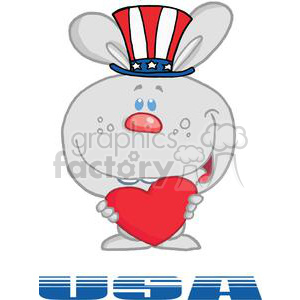 Patriotic Grey Bunny Holds Heart And Text USA