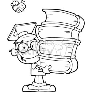 Graduation Boy With Books In Their Hands In Black and White clipart. Royalty-free image # 379256
