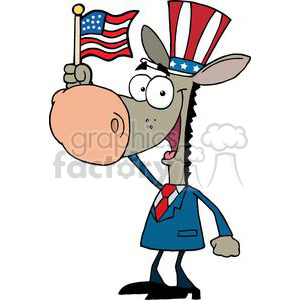 Patriotic Donkey Waving An American Flag