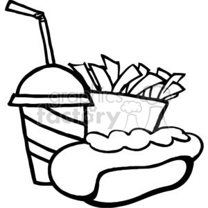 In Black and White Hot Dog Drink And French Fries clipart. Commercial use image # 379266