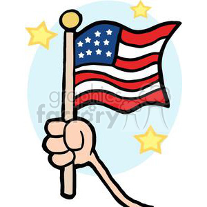 hand waving an american flag on independence day with stars