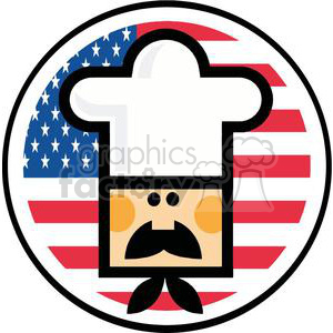 Cartoon Chef Man Face Over Of Flag Of USA