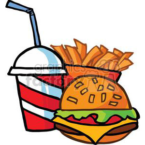 Fast Food Cheeseburger Drink With French Fries clipart. Royalty-free image # 379281