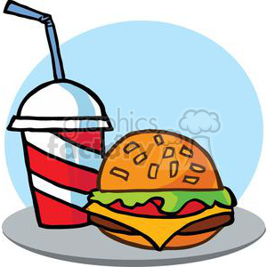 Fast Food Hamburger And A Soda clipart. Commercial use image # 379286