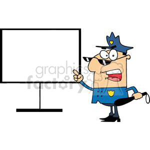 Police Officer In Blue Shows A Finger Board clipart. Commercial use image # 379296