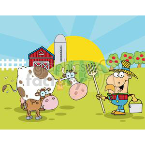 Country Farm Scene With Cow And Cowman clipart. Commercial use image # 379301