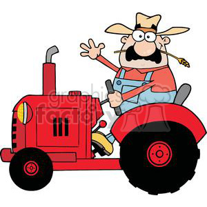 happy farmer in red tracto waving a greeting