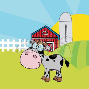 Cartoon Character Calf Different Color Gray In Front Of Country Farm clipart. Commercial use image # 379311