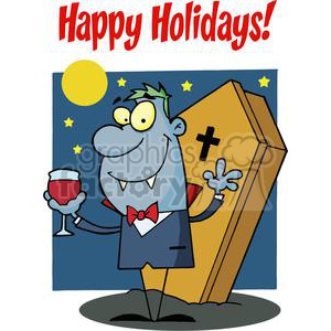 Happy Holidays Greeting With Halloween Vampire With A Glass clipart. Royalty-free image # 379321