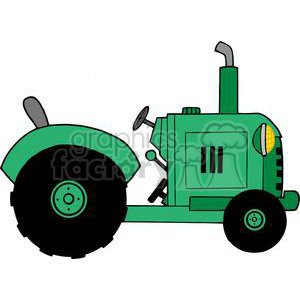 Vintage Green Farm Tractor clipart. Royalty-free image # 379336