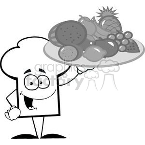 Cartoon Chefs Hat Character Holder Plate Of Fruits clipart. Commercial use image # 379341
