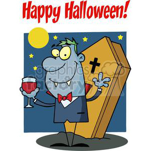 Happy Holidays Greeting With Halloween vampire with a glass clipart. Royalty-free image # 379351