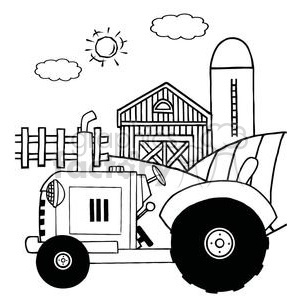 Vintage Tractor In Front Of Country Farm clipart. Royalty-free image # 379356