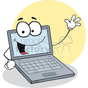 Laptop Cartoon Character Waving A Greeting clipart. Royalty-free image # 379361