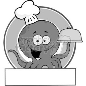 Royalty Free RF Clipart Cartoon Logo Mascot Octopus Chef Serving Food In A Sliver Platter clipart. Royalty-free image # 379366