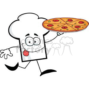 Cartoon Chefs Hat Character Holding And Running With Pizza clipart. Commercial use image # 379371