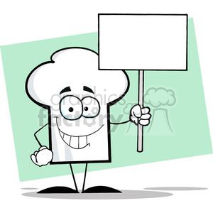 Cartoon Chefs Hat Character Holding A Blank White Sign clipart. Royalty-free image # 379376