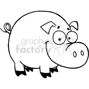 Cartoon Character Happy Pig clipart. Commercial use image # 379386