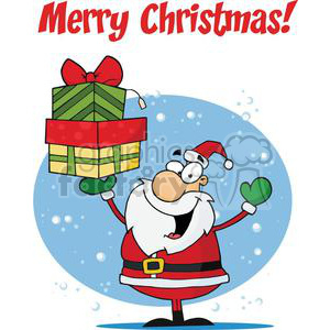 Holiday Greetings With Santa Claus clipart. Commercial use image # 379391
