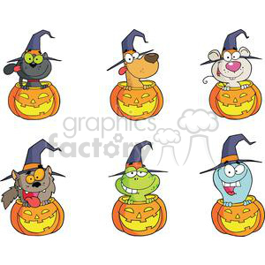 cartoon funny comical comic vector witch pumpkins halloween