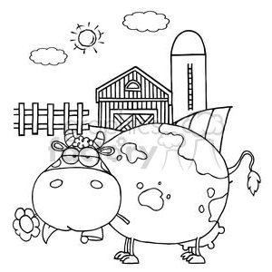 Cartoon Character Cow Different Color BW In Front Of Country Farm clipart. Royalty-free image # 379406